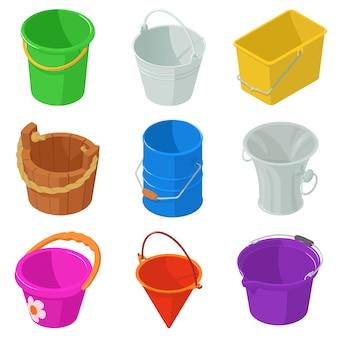 Set di icone del contenitore di tipi di benna. illustrazione isometrica di 9 tipi di secchio contenitore icone vettoriali per il web