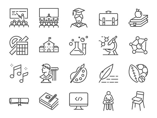 Set di icone del corso di scuola