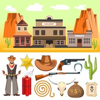 Set di icone del cowboy e scena selvaggio west con teschio di dinamite e ho