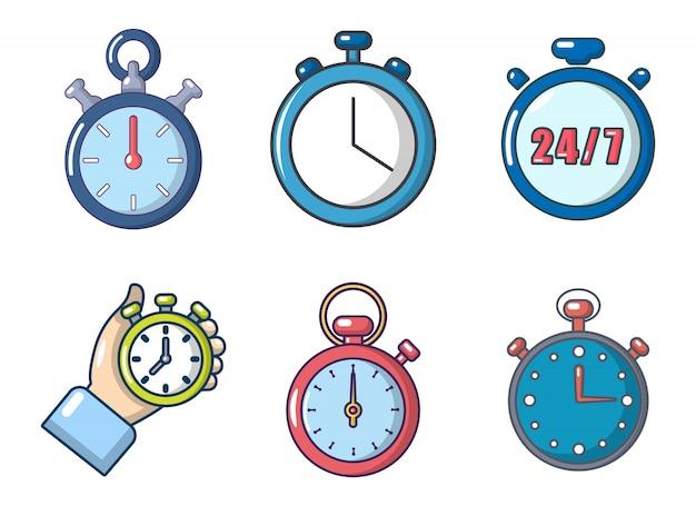 Set di icone del cronometro. l'insieme del fumetto delle icone di vettore del cronometro ha messo isolato
