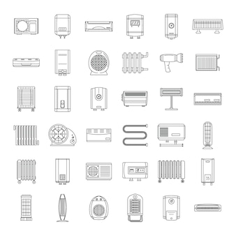 Set di icone del dispositivo di riscaldamento elettrico