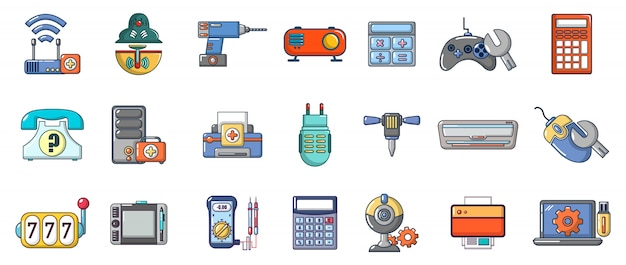 Set di icone del dispositivo elettronico. l'insieme del fumetto delle icone di vettore del dispositivo elettronico ha messo isolato