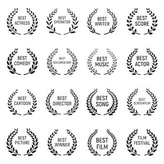 Set di icone del festival del cinema, stile semplice