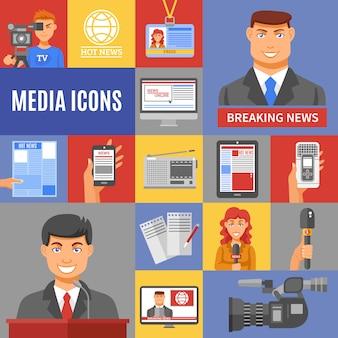 Set di icone del giornalismo