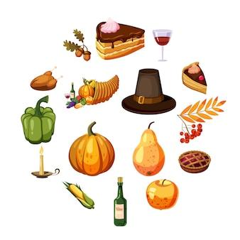 Set di icone del giorno del ringraziamento, stile cartoon