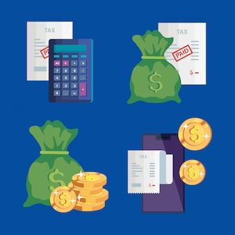 Set di icone del giorno delle tasse