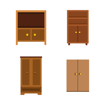 Set di icone del guardaroba. insieme piano della raccolta delle icone di vettore del guardaroba isolato