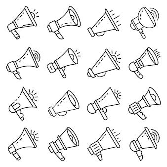 Set di icone del megafono. delineare il set di icone vettoriali megafono