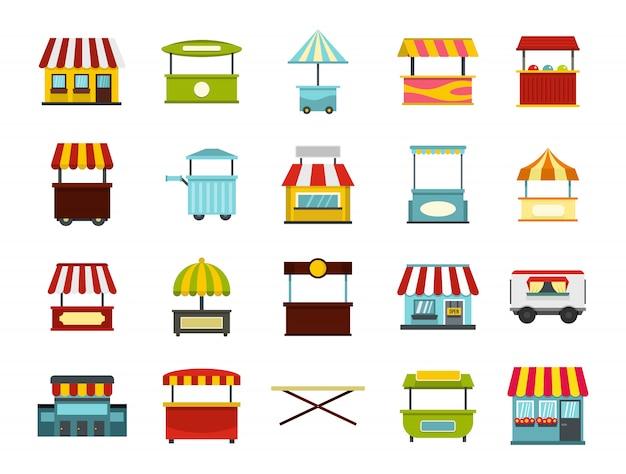 Set di icone del mercato di strada. insieme piano della raccolta delle icone di vettore del mercato di strada isolato
