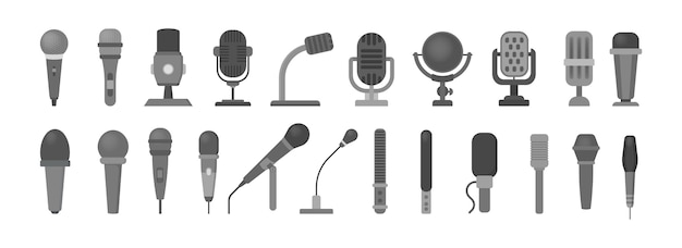 Set di icone del microfono. tecnologia audio, simbolo del record musicale. segno di studio del suono. illustrazione in stile