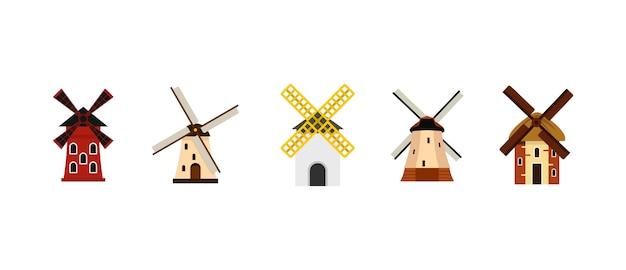 Set di icone del mulino a vento. insieme piano della raccolta delle icone di vettore del mulino a vento isolato