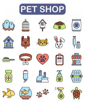 Set di icone del negozio di animali, stile di colore lineare premium