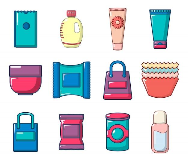 Set di icone del pacchetto. l'insieme del fumetto delle icone di vettore del pacchetto ha messo isolato