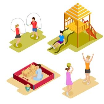 Set di icone del parco giochi isometrica