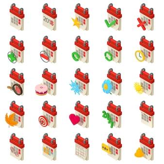Set di icone del pianificatore di pianificazione del calendario. un'illustrazione isometrica di 25 icone di vettore del pianificatore di programma del calendario per il web
