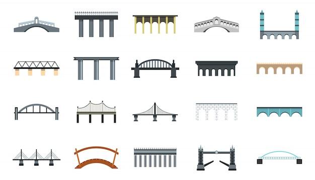 Set di icone del ponte. insieme piano della raccolta delle icone di vettore del ponte isolato