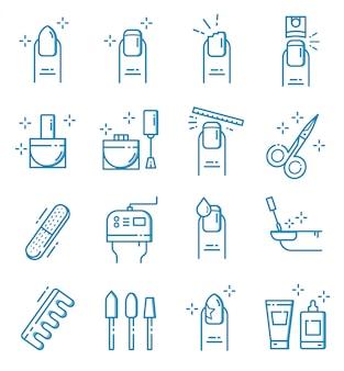 Set di icone del salone del chiodo con stile di contorno
