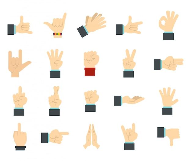 Set di icone del segno della mano. insieme piano della raccolta delle icone di vettore del segno della mano isolato