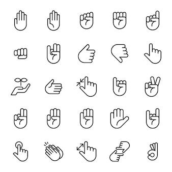 Set di icone del segno di mani