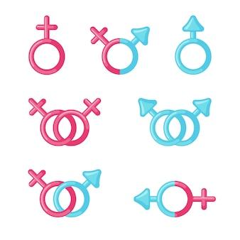 Set di icone del segno maschile e femminile.