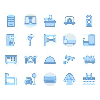 Set di icone del servizio alberghiero