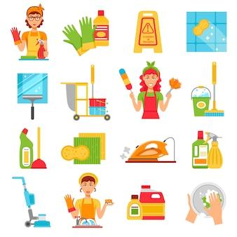 Set di icone del servizio di pulizia