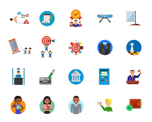 Set di icone del servizio giuridico