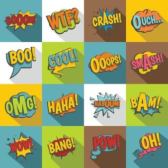 Set di icone del suono colorato comico, stile piatto