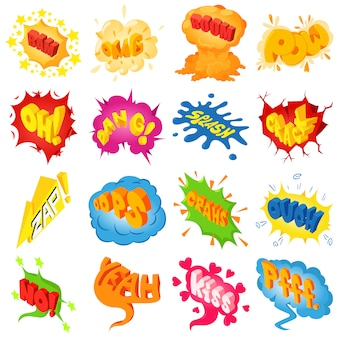 Set di icone del suono colorato comico. un'illustrazione isometrica di 25 icone colorate comiche di vettore del suono per il web