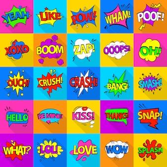 Set di icone del suono colorato comico. un'illustrazione piana di 25 icone del suono colorate comiche per il web