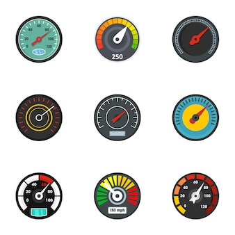 Set di icone del tachimetro. set piatto di 9 icone vettoriali tachimetro