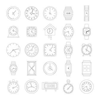 Set di icone del tempo e dell'orologio