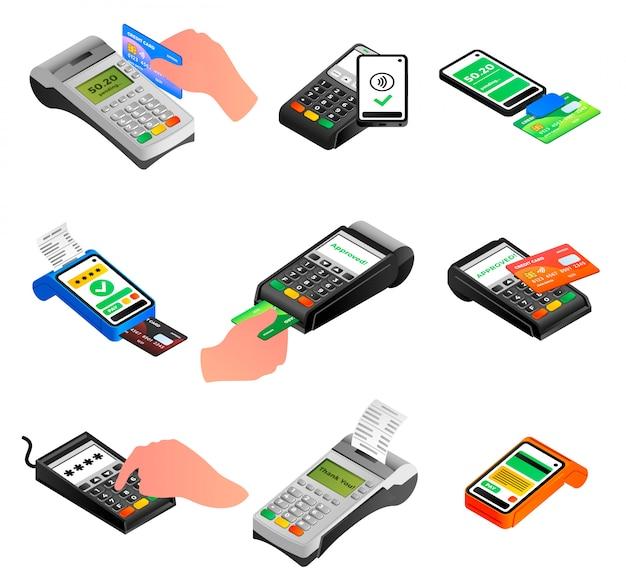 Set di icone del terminale bancario. insieme isometrico delle icone di vettore del terminale di banca isolate