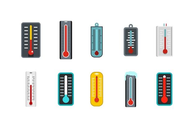 Set di icone del termometro. insieme piano della raccolta delle icone di vettore del termometro isolato