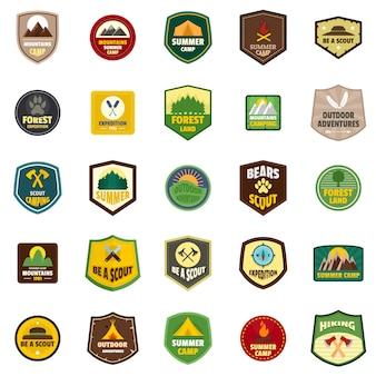 Set di icone del timbro emblema distintivo scout
