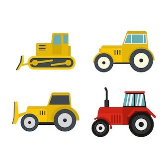 Set di icone del trattore. insieme piano della raccolta delle icone di vettore del trattore isolato