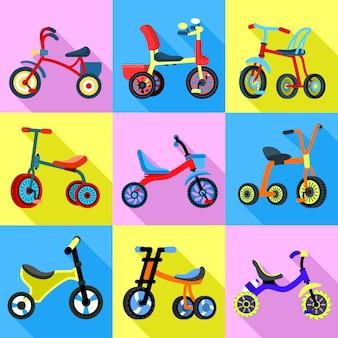 Set di icone del triciclo. set piatto di vettore triciclo