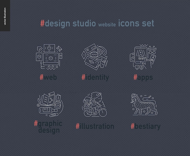 Set di icone delineato sito web di design studio