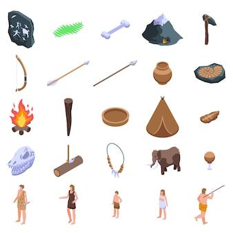 Set di icone dell'età della pietra