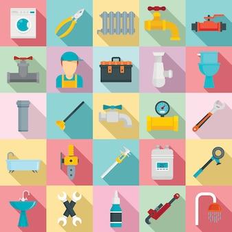 Set di icone dell'impianto idraulico, stile piano