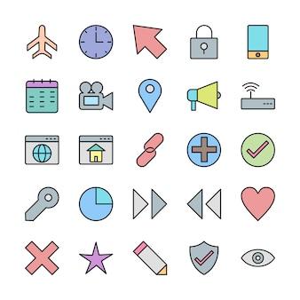 Set di icone dell'interfaccia utente di base per uso personale e commerciale
