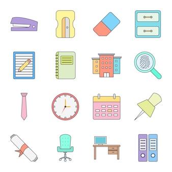 Set di icone dell'ufficio