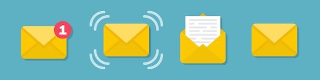 Set di icone della busta del messaggio di posta elettronica in un design piatto