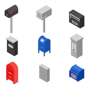 Set di icone della cassetta postale, stile isometrico