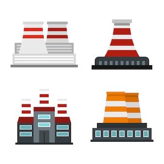 Set di icone della centrale elettrica. insieme piano della raccolta delle icone di vettore della centrale elettrica isolato