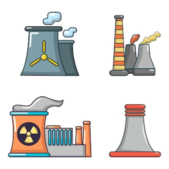 Set di icone della centrale elettrica. l'insieme del fumetto delle icone di vettore della centrale elettrica ha isolato
