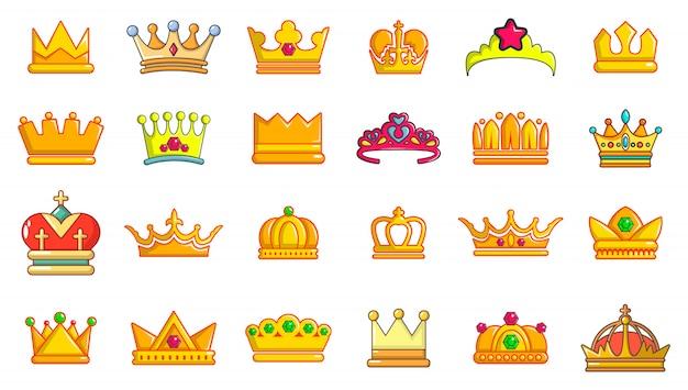 Set di icone della corona. l'insieme del fumetto delle icone di vettore della corona ha messo isolato