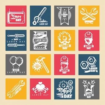 Set di icone della festa del lavoro