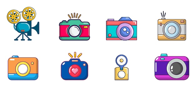 Set di icone della fotocamera. l'insieme del fumetto delle icone di vettore della macchina fotografica ha messo isolato