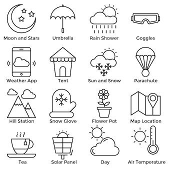 Set di icone della linea del tempo